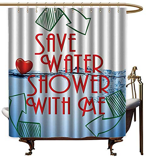 - Large Shower Curtain,Funny Sexy Invitation Save Water Shower with Me Sexy Decor Recycling Earth Lover Funny Heart Kinky Home Funny Couples Quote Adult,goof Proof Shower,W72x72L,Red Blue Green White