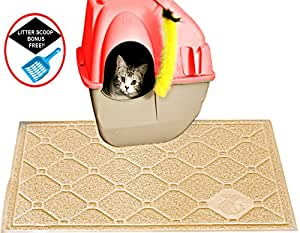 Cat Litter Mat Litter Trapping - Extra Large - Secret to Prevent Cat Litter Tracking! – Patent Pnding Desgn Stop Litter Scatter B4 it Starts – Urine Proof – Soft on Paws –Easy Clean -Litter Free Floor
