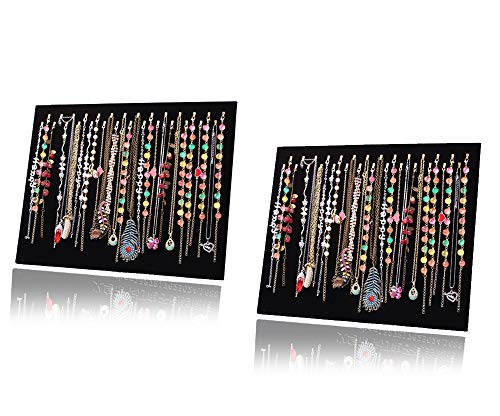 JIFF Velvet Necklace Jewelry Organizer/Tray/Pad/Showcase/ Display case (2 Pack-Black 28 Hook Necklace Display)