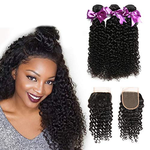 Dream Like 10A Curly Wave Human Hair Bundles With Lace Closure(16 18 20 With 14inch 4x4 Free Part) 100% Unprocessed Virgin Human Hair With Closure Hair Extensions Natural Color from Dream Like