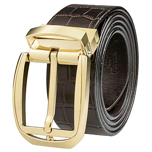 """(Men's Genuine Leather Dress Jean Belt with Premium Quality - Classic & Fashion Design for Business and Casual (Waistline 41""""~43"""", Brown Leather)"""