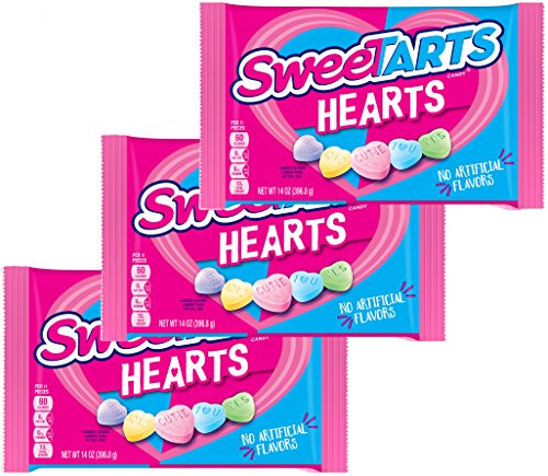 (Sweetarts Heart Shaped Candy - Valentines Day Assorted Variety Mix - Sweet Tarts Valentine Three Pack - Holiday Candies For Kids School Home Office Work - 14 Ounce Bag (3)