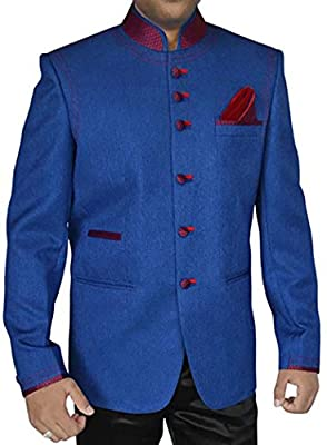 INMONARCH Mens Stylish Royal Blue 3 Pc Jodhpuri Suit JO282