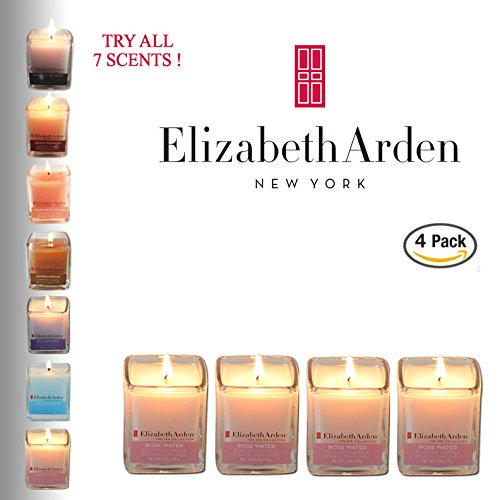 48Hr Prime Deal  Elizabeth Arden Rose Water Aromatherapy Votive 4 Pack Of Scented Pink Soy Candles   Best Selling Multi Pack  Highly Fragranced   Perfect Gift   2 Oz Each   Made In The Usa