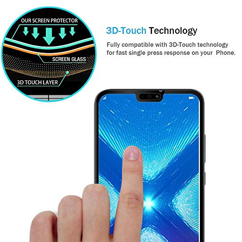 [2-Pack] Jbao Direct for Huawei Honor 8X Screen Protector, 9H Hardness  [Scratch Resistant] [Anti-Fingerprint] [Bubble Free] [Ultra Thin][Touch