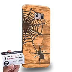 Case88 [Samsung Galaxy S6 Edge] 3D impresa Carcasa/Funda dura para & Tarjeta de garantía - Art Print Spider Web Wood Art