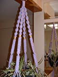 Cheap Macrame Plant Hanger VIOLET 4 TAN BEADS Made in USA