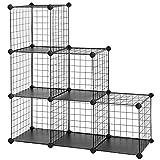 SONGMICS Metal Wire 6-Cube Storage Organizer, DIY Stackable Bookcase, Black ULPI111H
