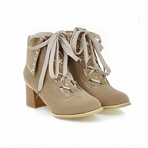 Carolbar Womens Lace Up Fashion Retro Studded Mid Heel Short Boots Beige I43SDnGB7