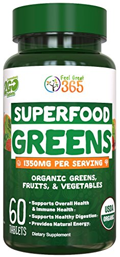 Organic Super Greens Fruit & Vegetable Tablets by Feel Great 365 - Superfood Green Juice Powder Supplement - Increase Energy, Improve Wellness, Alkalize The Body Halal Certified