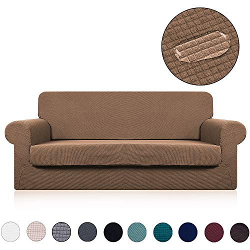 rate Seat Cushion Cover(2 Pieces Set) - Water Repellent,Knitted Jacquard,High Stretch - Living Room Couch Slipcover/Protector/Shield for Dog Cat Pets(3 Seater Sofa,Coffee) ()