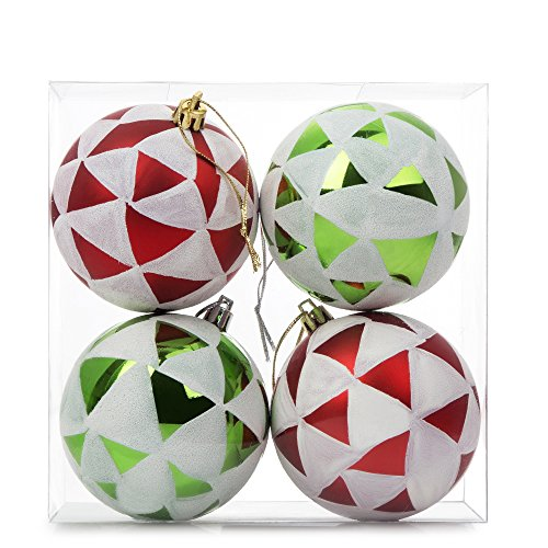 SANNO Christmas Ball Ornaments, Hand Painted Xmas Tree Balls Green/Red Shatterprooffor Holiday Wedding Party Decoration , 4 Pcs, 80mm/3.15
