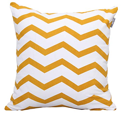 ACCENTHOME Square Printed Cotton Cushion Cover,Throw Pillow Case, Slipover Pillowslip for Home Sofa Couch Chair Back Seat,4pc Pack 18x18 in Mustard ...