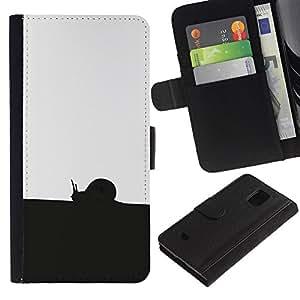 KLONGSHOP // Tirón de la caja Cartera de cuero con ranuras para tarjetas - Negro Blanco Caracol - Samsung Galaxy S5 Mini, SM-G800 //
