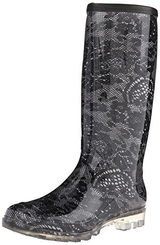Bootsi Tootsi Womens Lace Rain Boot Black pJ4TXMq8F