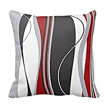 LOVE-Y Cotton Linen Square Vertical Stripes Red Black White and Grey Pattern Pillow Shams Sofa Decorative Throw Pillow Case Cushion Cover 20X20 Inch (Twin sides)