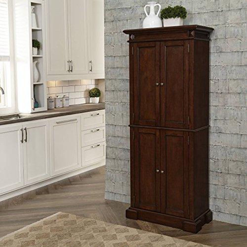 Beautiful Cherry Kitchen Pantry, 4 Storage Doors, 4 Adjustable Shelves, Antiqued Brass Hardware