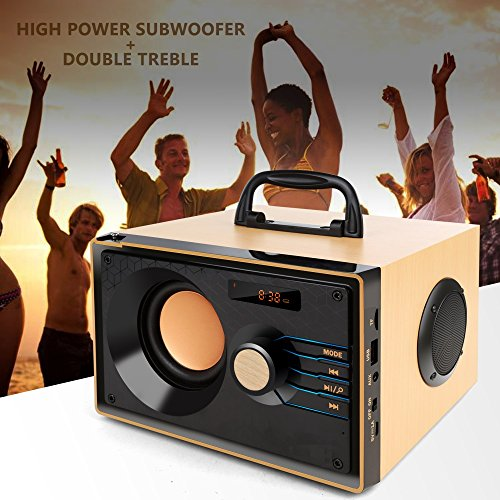 Desktop Wooden Bluetooth Speaker 10w Powerful Wireless Stereo Subwoofer Loudspeakers Music Player Support Digital Display Remote Control FM Radio TF Card USB AUX Speakers for Home Party for Phone by TOMPROAD (Image #3)