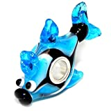 "Solid 925 Sterling Silver ""Blue and Black Fish"" Glass Charm Bead for European Snake Chain Bracelets"