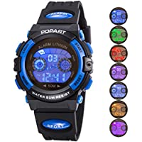 Kid Watch para Niño Niña LED Multi Function Sport Outdoor Digital vestido impermeable Alarma Azul