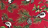April Cornell ac-120n12 Red Christmas Chickadee Set 120 x 60 Tablecloth & 12 Dinner Napkins Holiday Tablecloth Pine Boughs Cones Berries Birds