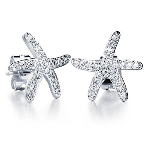 Mymate Womens Starfish Stud Earrings Silver Plated Copper (Plated Silver Starfish Earrings)