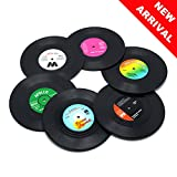 DuoMuo Set of 6 Colorful Vinyl Record Disk Coasters With Funny Labels-Tabletop Protection Prevents Furniture Damage-for Wine Glasses, Beer, Whiskey, Cocktail, Hot and Cold Drinks