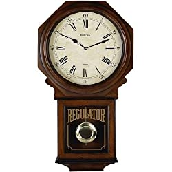 Bulova C3543 Ashford Chiming School House Wall Clock, Walnut Finish