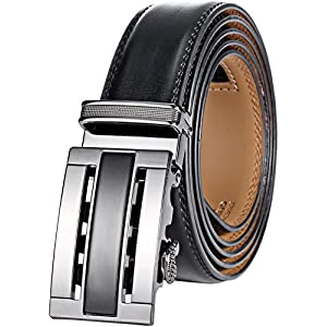 Marino Men's Genuine Leather Ratchet Dress Belt With Automatic Buckle, Enclosed in an Elegant Gift Box - Black and Silver - Fits waist sizes up to 44""