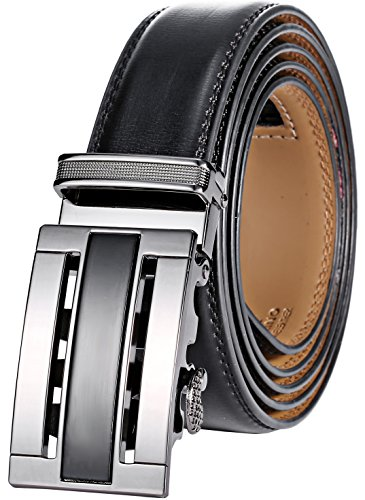 - Marino Men's Genuine Leather Ratchet Dress Belt With Automatic Buckle, Enclosed in an Elegant Gift Box - Black and Silver - Adjustable from 28