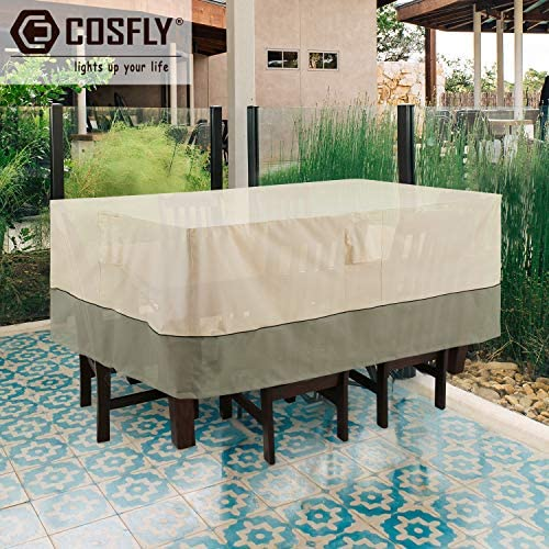 COSFLY Outdoor Furniture Covers Waterproof for Table and Chairs, Patio Table Set Cover Rectangular - Large Size 128 x 84 x 32 inches (L x W x H)