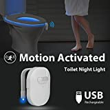 Motion Activated LED Toilet Night Light, Megulla Motion Detector Toilet Seat Light, USB Rechargeable Battery, IP67 Waterproof, 12 Color-Changing LED Bulbs, 3-Stage Dimmer, 1Pack