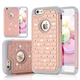 iPhone 6S Plus Case, ShuYo [Twinkle Series] Hard PC with Soft Rubber Heavy Duty Dual Layer Hybrid Armor Bling Diamond Defender Case Cover For iPhone 6 Plus / 6S Plus(5.5 inch) - Rose Gold/Grey