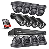 SANNCE 16-Channel CCTV DVR 1080P HD Surveillance Camera System (4) Bullet Camera and (8) Dome Cameras Motion Detection Alarm & Remote View 100ft Night Vision Outdoor Security Camera System (2TB HDD)