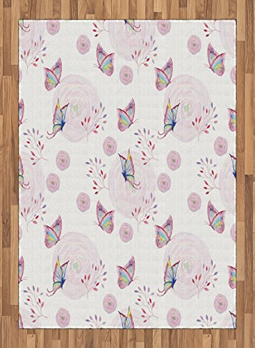 Butterfly Area Rug by Ambesonne, Butterflies and Branches Romantic Spring Retro Faith Optimism Change Fly Theme, Flat Woven Accent Rug for Living Room Bedroom Dining Room, 5.2 x 7.5 FT, Pink White by Ambesonne