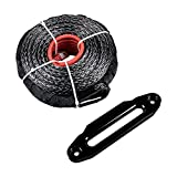 3/8'' x 95' 20000 LBs Synthetic Winch Line Cable Rope + 10'' Aluminum Hawse Fairlead For ATV UTV JEEP KFI Truck (Black)