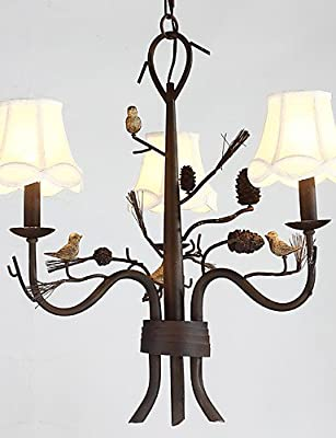qiuxi High-end fashion Interior Ceiling lamp North Amercian Countryside Retro Resin Bird with Pine Cones Chandelier Lamp for Indoor Decorate Chandelier Light , 110-120v