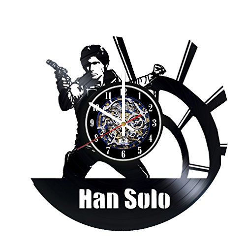 Han Solo Costume Carbonite (Movie Character Silhouette Design Vinyl Record Wall Clock / Gift idea for his and her / Original home, office wall decor / Unique Fantasy Movie Fan Art)