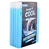 OICEPACK Ice Packs (Set of 4) Large Ice Packs for Lunch Boxes,Cooler Ice Packs,Long Lasting Lunch Bag Ice Packs,Slim Reusable Cool Packs for Food,Freezer Ice Packs, Poker ACE Diamond Design Blue