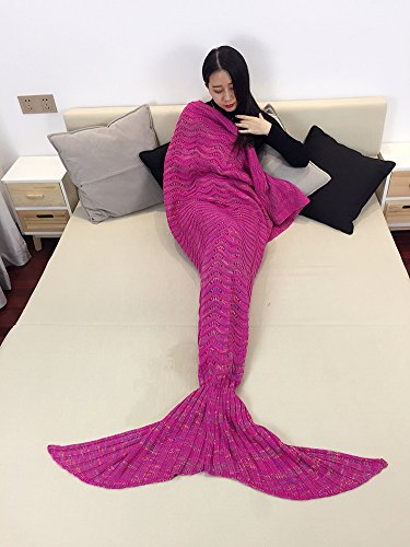 Handmade Mermaid Tail Blanket, iBaby888 All Seasons Warm Knitted Bed Blanket Sofa Quilt Living Room Sleeping Bag for Adults, Wave Pattern, 70.9