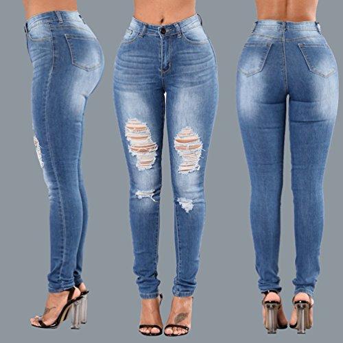 Sentao Mujeres Rotos Vaqueros Del Agujero Pantalones Rasgados Leggings Jeans Azul