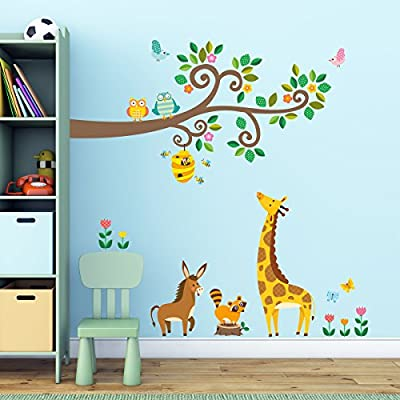 Decowall, DW-1512,Scroll Branches and Animals peel & stick Nursery wall decals stickers
