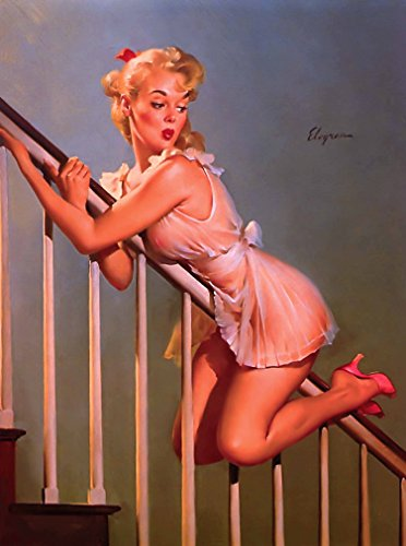 [1940s Pin-Up Girl Sliding Down the Bannister Picture Poster Print Art Vintage Pin Up] (1940s Pin Up Girl)