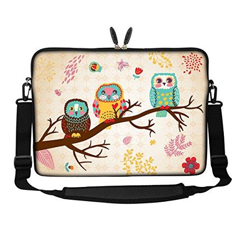 Meffort Inc 15 15.6 inch Neoprene Laptop Sleeve Bag Carrying Case with Hidden Handle and Adjustable Shoulder Strap - Three Owls