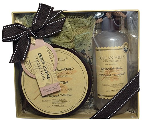 Tuscan Hills Body Care Collection 3 - Piece Gift Set ~ Shower Gel, Body Butter and Loofah (Vanilla Almond) by Tuscan Hillls
