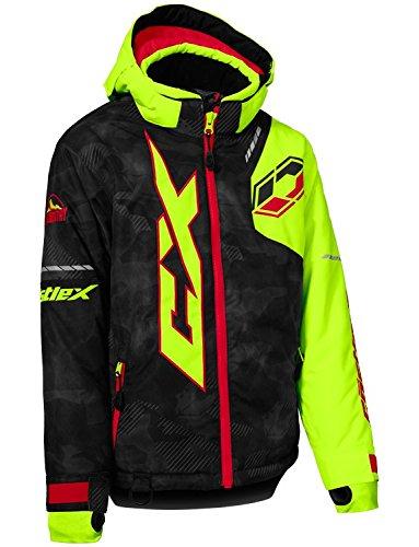 Castle X Stance Youth Snowmobile Winter Jacket - Alpha Black/Hi-Vis/Red (XLG)