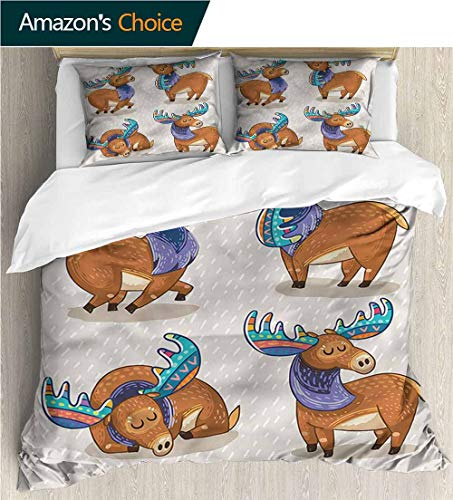 Female Moose - carmaxs-home 3D Bedding Quilt Set,Box Stitched,Soft,Breathable,Hypoallergenic,Fade Resistant Reversible Coverlet,Bedspread,Gifts for Girls Women-Moose Friendly Nursery Kids (79