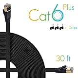 AOFORZ - Ethernet Cable Cat6 Plus 30ft - Black Flat High speed Internet Network cable with Cable Clips - Computer Cable With Snagless Rj45 Connectors - 30 feet Black (10 Meters)