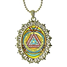Solomons 6th Sun for Invisibility Huge Light Gold Medallion Rhinestone Pendant