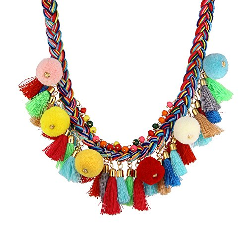 LUREME Bohemian Handmade Colorful Braided with Pom Pom and Tassels Statement Necklace Collar (nl005628) -